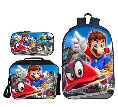 GHDE& Super Mario Drucken Teen Boy und Mädchen Schulrucksack mit Brotdose Mäppchen, 3 in 1 Segeltuch Student Rucksack einstellen,4