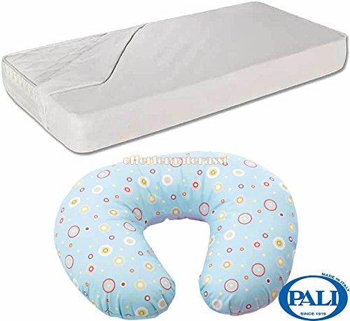 Cuscino allattamento Pali Mamy Azzurro + Coprimaterasso impermeabile per lettino