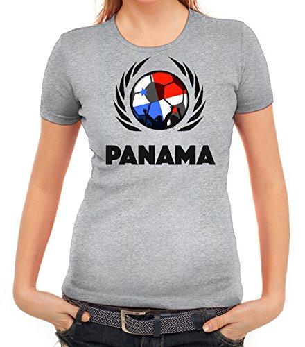 ShirtStreet World Cup Wappen Soccer Fussball WM Fanfest Gruppen Fan Wappen Damen T-Shirt Fußball Panama Graumeliert