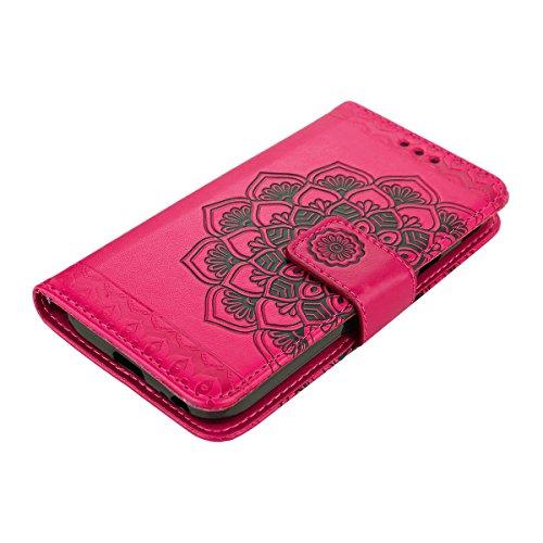 Custodia per Samsung J5 2017 (Versione europea), Galaxy J5 2017 (Versione europea) Cover a libro, iphone X Cover Flip, MoreChioce Lusso Bookstyle Flip PU Pelle Cover Moda Design Modello Gatti e alberi Mandala-Hot Pink