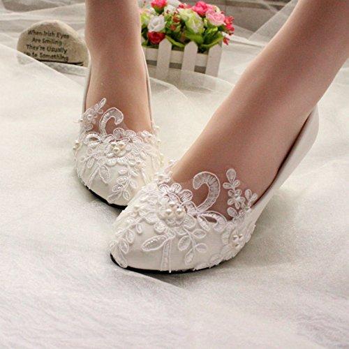 JINGXINSTORE Bianco Nozze alto pompa Pizzo Bridesmades scarpe 8 tacco Nuziale bassa Ivory perla UUx6Zp