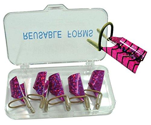 5-cartine-nail-form-teflon-colore-fucsia-riutilizzabili-in-box-ricostruzione-unghie