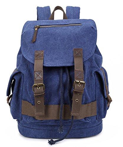 Minetom Damen Herren Rucksack Retro Unisex Canvas Leder Daypacks Dunkel Blau A