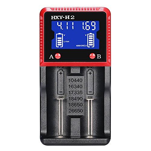 Caricabatterie a 4 Slot con Display LCD, Adatto per un'ampia gamma di batterie Li-ion, LiFePO4, Ni-MH, Ni-CD [Autenticazione di Sicurezza Multipla] (h2)