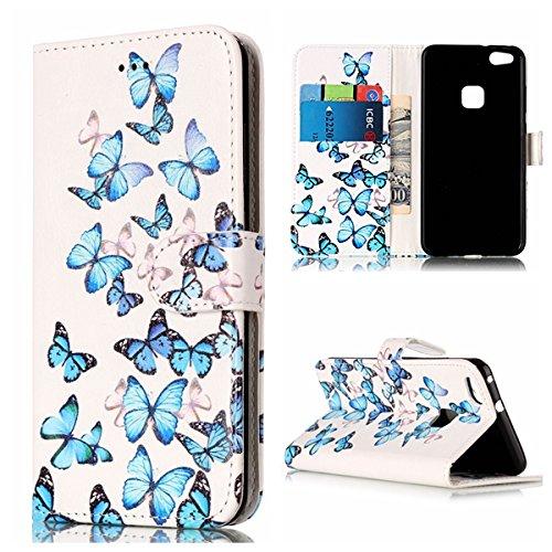 Qiaogle Téléphone Coque - PU Cuir rabat Wallet Housse Case pour Apple iPhone 7 (4.7 Pouce) - YH74 / Dreamcatcher YH73 / Bleu Papillon
