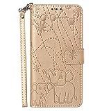 Docrax LG G7 Leather Cover, Custodia Portafoglio in Pelle Porta Carte Funzione di Stand Antiurto Wallet Case Flip Cover per LG G7 - DOYBO470530 Oro