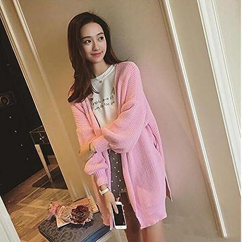 ZY Primavera e autunno usura. lanterna manica lunga sciolti maglioni.. inverno cappotto cappotti maglioni. maglione Cardigan donna , pink