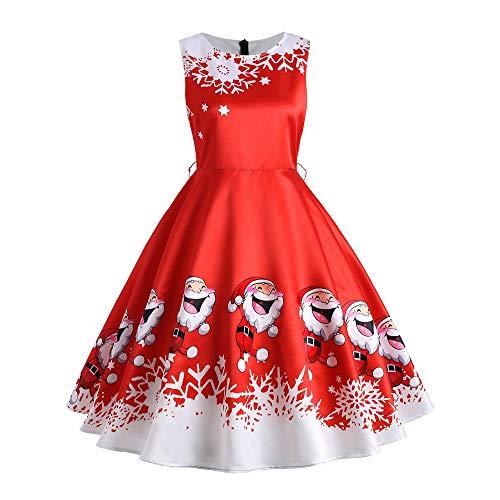 SEWORLD Damen Weihnachten Kleid, 2018 Damen Vintage Santa Weihnachten 1950er Jahre Retro Xmas Abend Prom Swing Kleid(X7-1-rot2,EU-36/L)