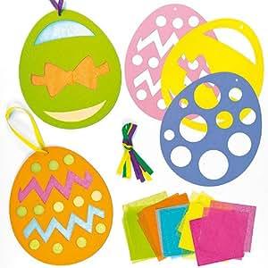 Deko anh nger osterei mit transparentpapier f r kinder zum basteln zu ostern 6 st ck - Basteln mit cds geschenkideen deko wohnen ...