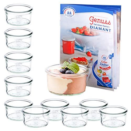 MamboCat 12er Set WECK Mini-Sturzgläser 165 ml + Rezeptheft | Pasteten-Gläschen Klar | Ø 8.8 cm | Lebensmittel einkochen, aufbewahren & konservieren | Einweck-Zubehör -