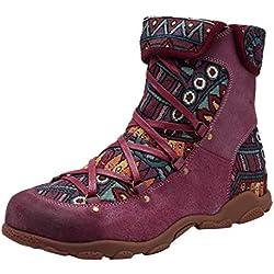 Botas étnicas Mujer Planas Zapatos de Cuero Artificial de Invierno Primavera Botines Mujer Botas Romanas Bota Nieve Deportivas Casuales