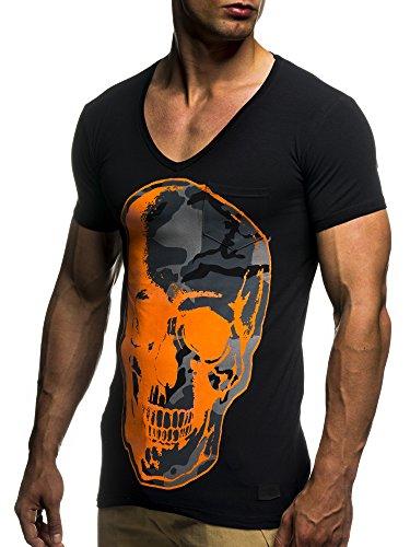 LEIF NELSON Herren oversize T-Shirt Shirt mit Totenkopf Aufdruck LN6291 Schwarz-Orange