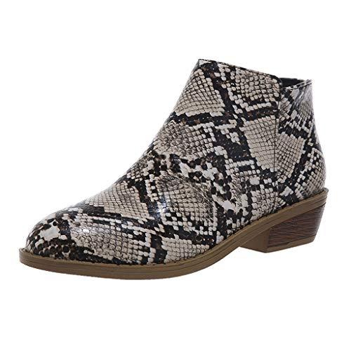 Alwayswin Damenmode Kurze Stiefel Lässig Retro Rom Stiefeletten Reißverschluss Lederstiefel Leopard Schlangenhaut Booties Blockabsatz Kurze Stiefel Elegant wasserdichte Stiefel -