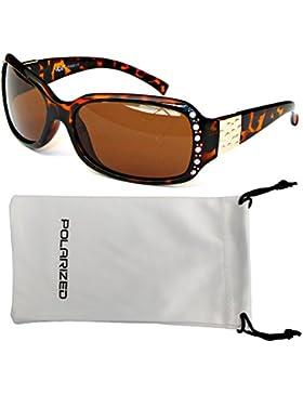 VOX Femenina Gafas de Sol Polarizadas Diseñador Moda Diamantes de Imitación – Marco de tortuga – Lente ámbar
