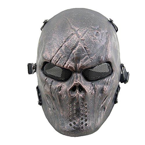 haoyk Totenkopf Skelett Full Face Tactical Airsoft Paintball Cosplay Maske mit Metall Mesh Eye Schutz für Airsoft/BB Gun/CS Spiel und Party, kupfer (Paintball Guns Gold)