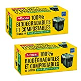 Alfapac - 20 Sacs 20L À Poignées - Sacs-Poubelle pour Bio-seau Grand Modèle - 100 % Biodégradables - Lot De 2 - Sacs Verts 45 X 57 Cm