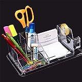 Cosanter Schreibtisch Organizer Tisch Organiser Stifteköcher Haftnotiz Halter Büro Schreibwaren Behälter Kunststoff Bleistift Becher Transparent
