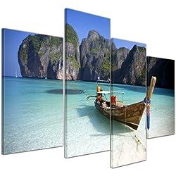 Bilderdepot24 Cuadros en Lienzo Maya Bay, KOH Phi Phi Ley - Tailandia - 120x80 cm 4 Piezas - Enmarcado Listo Bastidor Imagen. Directamente Desde el Fabricante