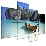 "Bilderdepot24 Leinwandbild ""Maya Bay, Koh Phi Phi Ley - Thailand"" - 120x80 cm 4 teilig - fertig gerahmt, direkt vom Hersteller"