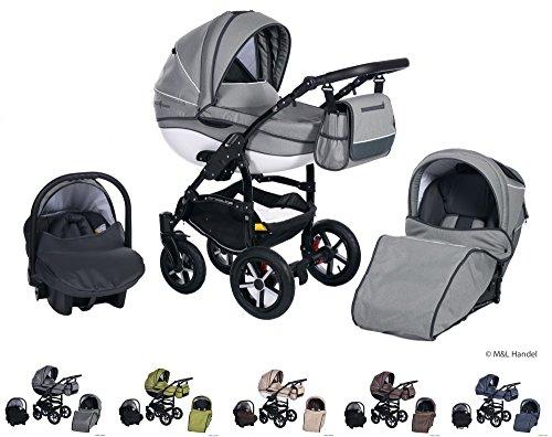 Clamaro 'Ecco Linen 2018' 3in1 Kombi Kinderwagen aus Aluminium im Leinen Design mit Babywanne, Sport Buggyaufsatz, Maxi Cosi Babyschale (ISOFIX), Silber