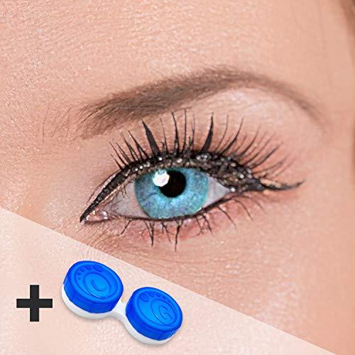 """Eye-Effect Farbige Kontaktlinsen Himmelblau Zweifarbig""""Dual Tone Sky Blue"""" ohne Stärke mit Kontaktlinsenbehälter, blau/0 Dioptrien, 2 Stück"""