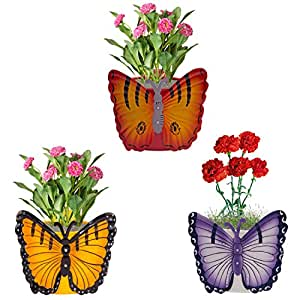 Nuha Set of 3- Single Pot Butterfly Railing Planter, Planter Stands, Planters Hanging, Planter Tray, Planter Pots, Pots and Planters for Balcony