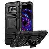 MoKo Galaxy S8 Hülle - [Heavy Duty Serie] Outdoor Dual Layer Armor Case Handy Schutzhülle Schale mit Gürtelclip und Standfunktion für Samsung Galaxy S8 5.8 Zoll Touch Display Smartphone, Schwarz
