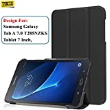 #9: Taslar® Leather Convenient Stand Function With Magnetic Lock Flip Cover Case For Samsung Galaxy Tab A 7.0 Tablet (T280, T285),(Black)