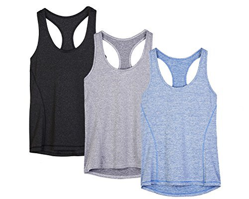 Top deportivo para mujer Icyzone para yoga, tirantes en la espalda, correr, deporte, camiseta elástica, color Black/Granite/Blue, tamaño large