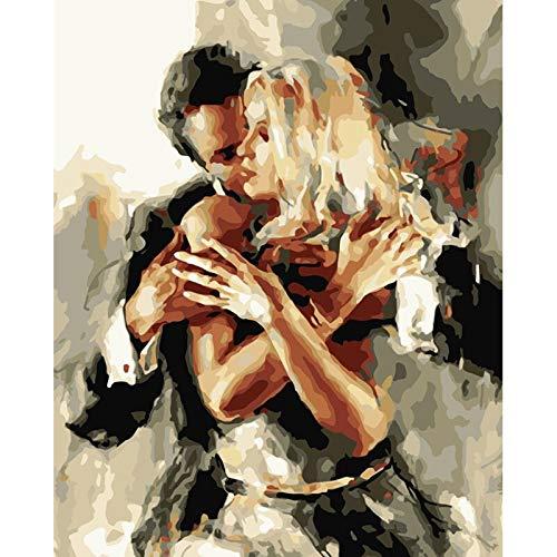 zhxx Malen Nach Zahlen Erwachsene Acryl Double Dance Figur Digital Modern Wall Art Painting LeinwandFür Anfänger Mit Rahmen 40X50Cm Double Wall Acryl