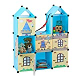 Relaxdays Steckregal Kinderzimmer, coole Ritterburg, Kunststoff, Kinderschrank mit Türen, HxBxT: 128 x 110 x 37 cm, bunt