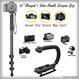 "Handy 72"" Monopod + Video Handle Scorpion Grip Bundle for FujiFilm FinePix S9100 (FinePix S9600) - Padded Handles Supports Multiple Accessories"