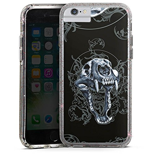 Apple iPhone 6s Bumper Hülle Bumper Case Glitzer Hülle Puma Totenkopf Skull Bumper Case Glitzer rose gold