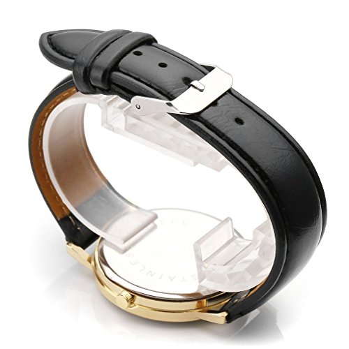 JSDDE Uhren,Vintage Damen Armbanduhr Skizze Organ Herz Zifferblatt Armbanduhr Leder Armband Analog Quarz Uhr,Schwarz - 3