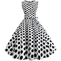 c7536cf2aa7 uface Women  s Sleeveless Mesh Stitching Wave Point Retro Dress Stampa  senza maniche Mesh Patchwork