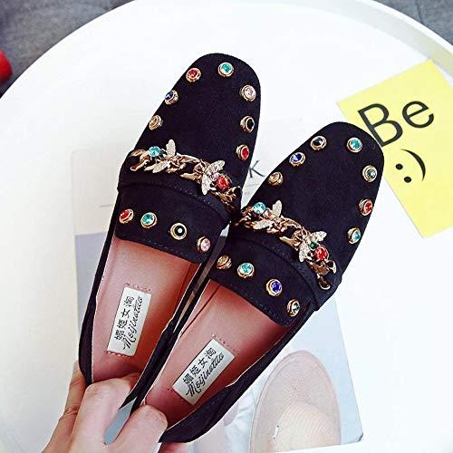 YOPAIYA Fischer Schuhe Strass Schuhe Frauen Schwarz Wohnungen Plus Size Mokassins Damen Faule Müßiggänger Slip On Lässige Mode Weibliche Schuhe Frühling Herbst, 38 - Schwarzen Frauen Wohnungen