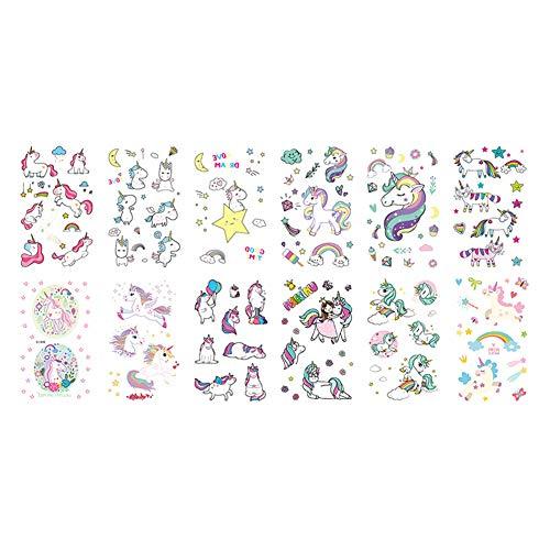 Deanyi 25 Blatt Unicorn Temporary Tattoos Hippy Fälschungs Regenbogen Einhorn Aufkleber für Jungen und Mädchen Einhorn Party Supplies Bevorzugungen Toys