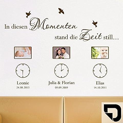 DESIGNSCAPE® Wandtattoo Fotorahmen In diesen Momenten Bilderrahmen mit Uhren, Wunschnamen und Datum 105 x 74 cm (Breite x Höhe) schwarz
