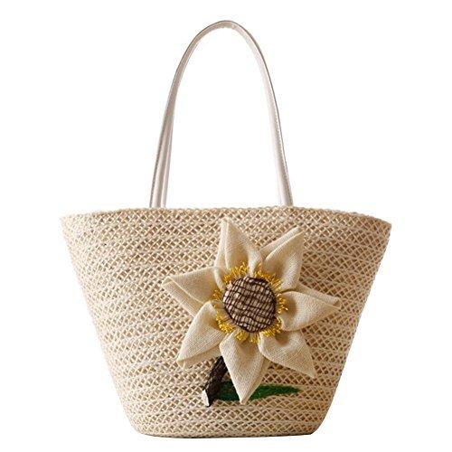 YOUJIA Fiore Handbags Spiaggia Vacanza Paglia Borsa Borsa A Tracolla #3 beige