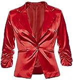 Eleganter Damenblazer Blazer Baumwolle Jäckchen Business Freizeit Party Jacke in 26 Farben 34 36 38 40 42, Farbe:Rot Metallic;Größe:M-38
