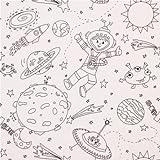 Ausmal Stoff mit Astronaut Stern Mond Rakete Michael Miller