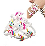 Unicorn Bracelet Wristband,D&&R 24 Pcs Unicorn Emoji Slap Favors set Key Chains Rubber Bracelet Children Birthday Party Supplies Gifts By D&&R