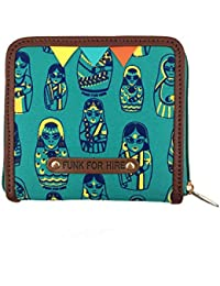 Funk For Hire Women Indian Doll Printed Canvas small square wallet