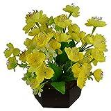 #5: Thefancymart Artificial Japanese Wild flowers arrangement (size 11 inchs/ 28 cms) with Hexagun Wood Pot Code- 1130