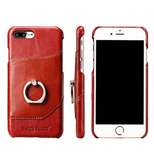Ultra Mince Véritable Étui en Cuir pour iPhone 7 Plus, Careynoce Luxe Coque en Cuir Fait Main pour Apple iPhone 7 Plus (5.5 pouces) avec Carte de Crédit Fentes -- Rouge M05