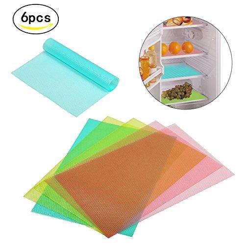 KAKOO 6er Kühlschrankmatten EVA Antibakteriell Matte Schublade Kühlschrank Einlage Antirutsch Pad Hygienematten 3 Farben 29cm*45cm