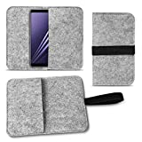 UC-Express Filz Tasche für Samsung Galaxy A8 Duos 2018 Hülle Cover Handy Case Schutzhülle, Farben:Hell Grau
