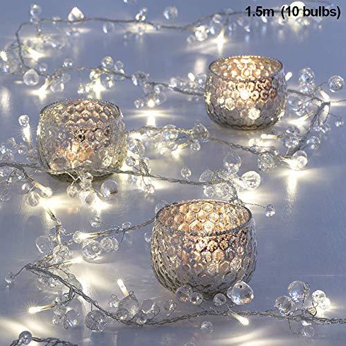Schnur beleuchtet Perlen 10 LED Party Indoor dekorative 1,5 m Wohnkultur im Freien Kristall Batterie(Weiß)