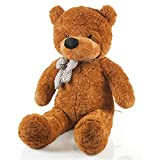 Riesen Teddybär XXL Kuschelbär 120 cm groß Plüschbär - Original Feluna Teddy Bär mit Schleife Braun