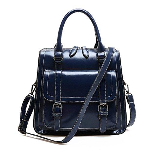 Frauen Klassische Schultertasche Weiches Leder Große Umhängetasche Für Frauen Retro Shopper Tote Bag Wochenende Mädchen Geldbörse Blue
